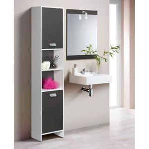 COLONNE - ARMOIRE SDB TOP Colonne de salle de bain 39cm - Blanc et gris