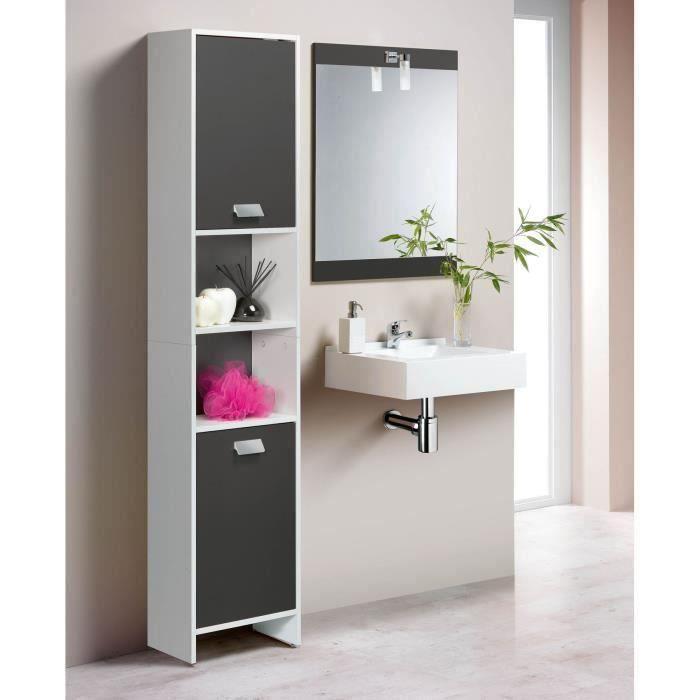 Colonne de salle de bain 2 portes blanc gris achat for Porte de meuble salle de bain