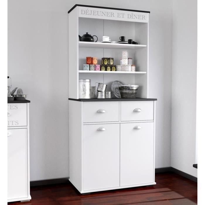 Asfeld buffet de cuisine 80 cm blanc achat vente - Buffet de cuisine gris ...