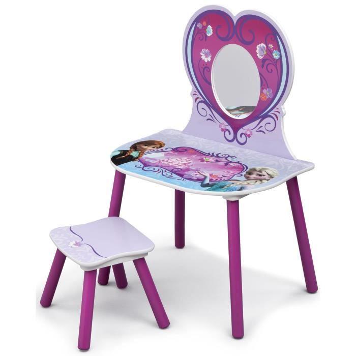 La reine des neiges coiffeuse enfant en bois et tabouret achat vente tabl - Coiffeuse en bois pour petite fille ...
