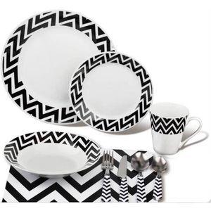 Service de table complet noir achat vente service de for Vaisselle de table pas cher