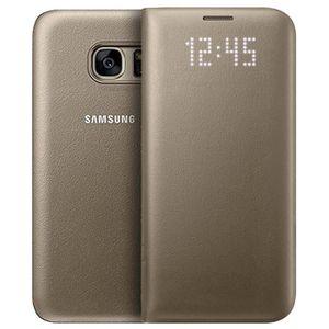 HOUSSE - ÉTUI Samsung Etui LED View cover pour Galaxy S7 – Or