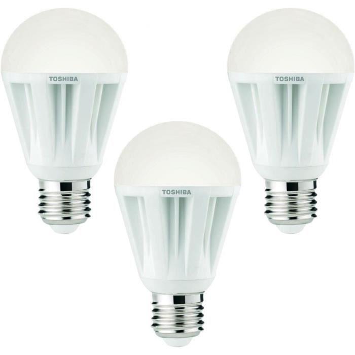 toshiba lot de 3 ampoules led e27 60w achat vente ampoule led cdiscount. Black Bedroom Furniture Sets. Home Design Ideas