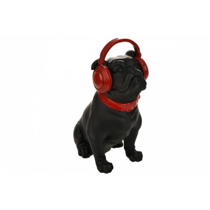 chien en r sine avec casque rouge 32 cm achat vente statue statuette cdiscount. Black Bedroom Furniture Sets. Home Design Ideas