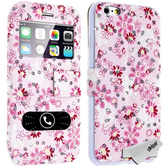 Housse pochette portefeuille 2x fen tre fleurs rose et for Offrir des fleurs par internet pas cher