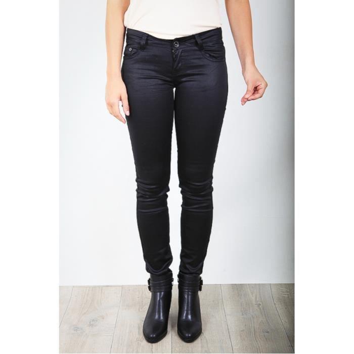 pantalon enduit noir noir achat vente pantalon cdiscount. Black Bedroom Furniture Sets. Home Design Ideas