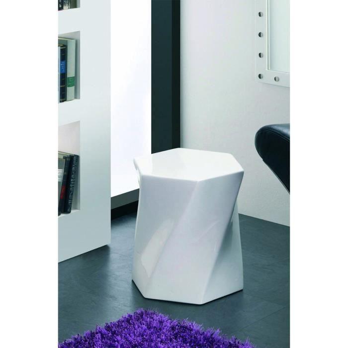 Table d 39 appoint en mdf coloris blanc hauteur 4 achat Table d appoint reglable en hauteur