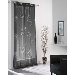 rideaux blanc et noir achat vente rideaux blanc et noir pas cher cdiscount. Black Bedroom Furniture Sets. Home Design Ideas