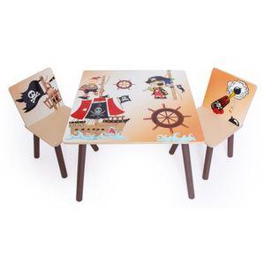 TABLE ET CHAISE Ensemble table + 2 chaises enfant motif pirates