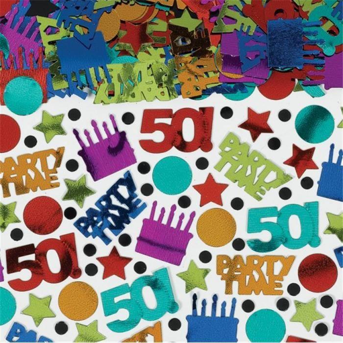 Confettis de table anniversaire 50 ans 70g achat for Decoration 50 ans