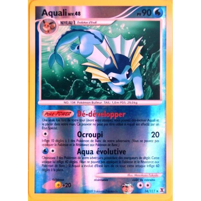 Carte pok mon 34 111 aquali reverse 90 pv pla achat vente carte a collectionner aquali - Carte pokemon aquali ...