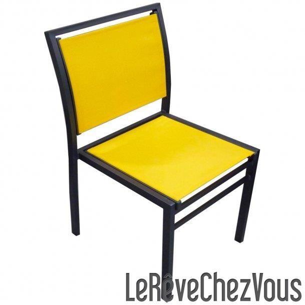 chaise aluminium noir textil ne jaune empilable achat vente chaise fauteuil jardin. Black Bedroom Furniture Sets. Home Design Ideas