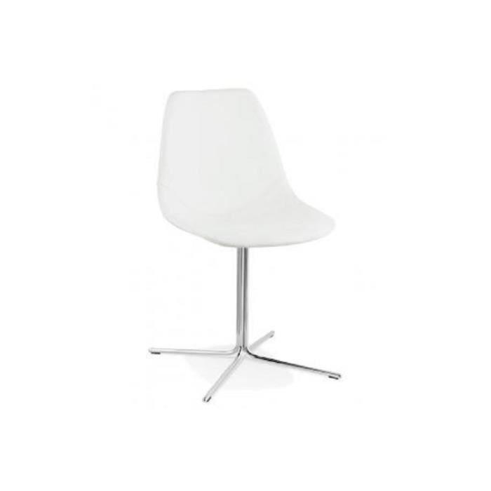 Chaise avec coque en simili cuir blanc trocin achat vente chaise cdiscount - Chaise en cuir blanc a vendre ...