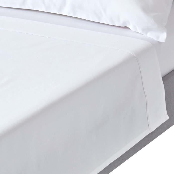 drap plat uni 100 coton gyptien 1000 fils blanc 240 x 275 cm achat vente drap plat. Black Bedroom Furniture Sets. Home Design Ideas