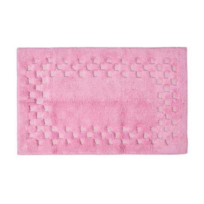 Tapis De Bain Piqu De Carreaux 45 X 75 Cm Coloris Rose Achat Vente Tapis De Bain