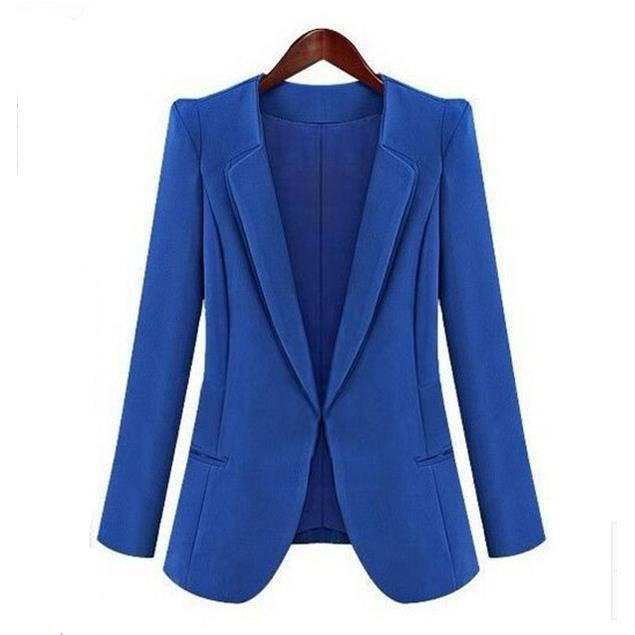 nouveau veste tailleur femme mode europ enne grande taille blazer pour femme bleu bleu achat. Black Bedroom Furniture Sets. Home Design Ideas