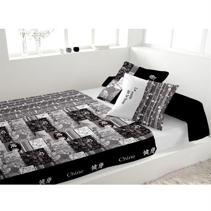 parure de lit chine gris achat vente parure de lit cdiscount. Black Bedroom Furniture Sets. Home Design Ideas