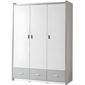 Armoire 3 portes 1 3 penderie 2 etagere achat vente - Penderie blanc laque ...