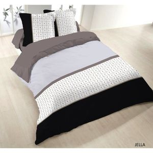 Housse couette 100% coton 200 x 200 + 2 taies JELL