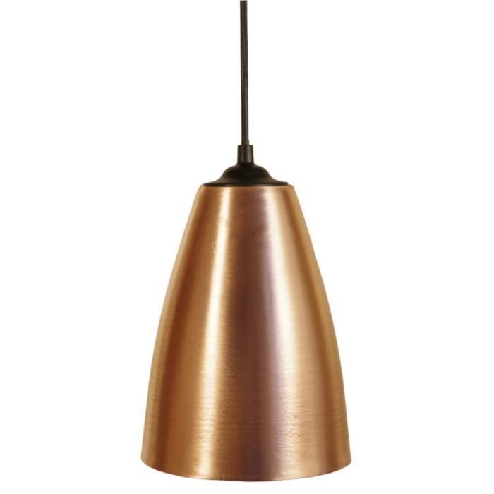 larsen suspension m tal c ne longue diam tre 17 cm base carr cuivre achat vente larsen 2. Black Bedroom Furniture Sets. Home Design Ideas