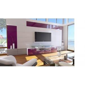 Meuble tv alona blanc violet non non non achat vente meuble tv meub - Meuble tv violet laque ...