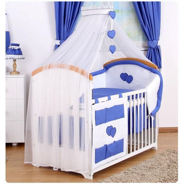 Parure de lit b b ciel de lit b b blanc coeurs bleu et sa fl che - Ciel de lit bleu ...