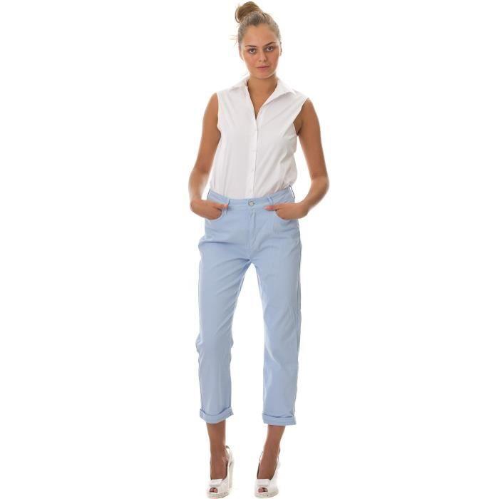 Pantalon Mayia Bleu Ciel Pastel Achat   Vente pantalon Pantalon c655cc260109