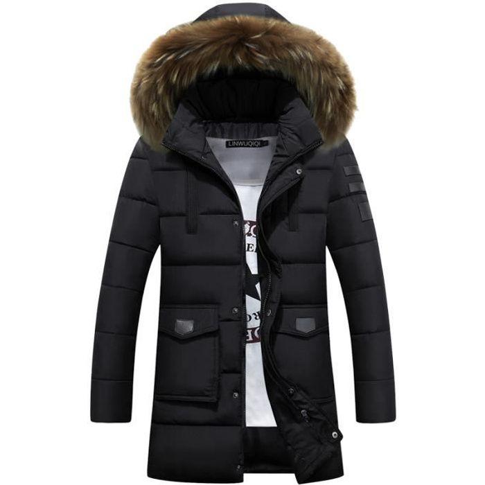 doudoune homme longue casual capuche fourrure veste blouson homme hiver luxe marque. Black Bedroom Furniture Sets. Home Design Ideas