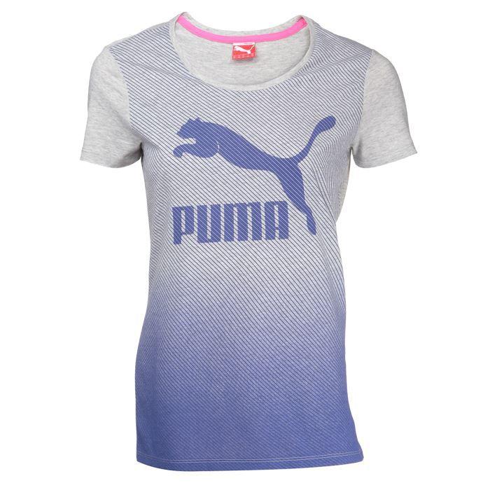 puma t shirt femme bleu et gris achat vente t shirt puma t shirt femme cdiscount. Black Bedroom Furniture Sets. Home Design Ideas