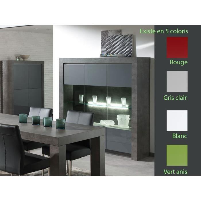 vaisselier avec clairage led moderne murilo gris laqu achat vente vitrine argentier. Black Bedroom Furniture Sets. Home Design Ideas