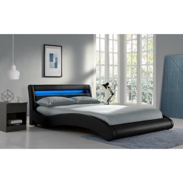 lit black surf 140x190 avec matelas. Black Bedroom Furniture Sets. Home Design Ideas