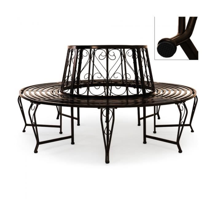 superbe banc de jardin rond arbre metal acier meuble circulaire ext rieur diam tre 160 cm. Black Bedroom Furniture Sets. Home Design Ideas