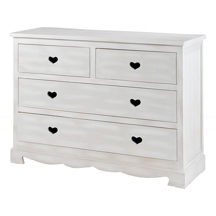 commode blanche 4 tiroirs coeur gamme charme achat. Black Bedroom Furniture Sets. Home Design Ideas
