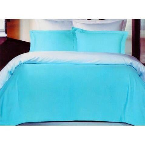 housse de couette satin 200x200 turquoise blanc achat. Black Bedroom Furniture Sets. Home Design Ideas