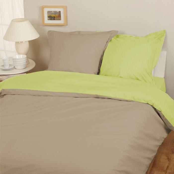 parure housse de couette flanelle 100 coton bicolore taupe lime 240x220 cm 2 taies d. Black Bedroom Furniture Sets. Home Design Ideas