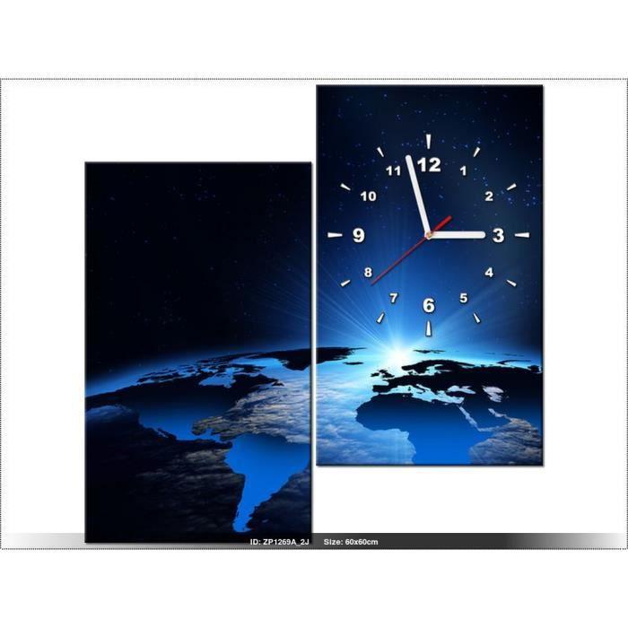 60 x 60 cm terre horloge murale tableau moderne deco new design a - Horloge murale 60 cm ...