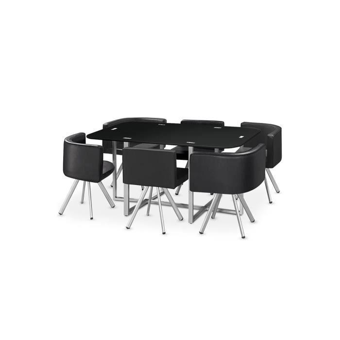 Table manger verre 6 chaises noir corner xl achat for Table a manger verre noir