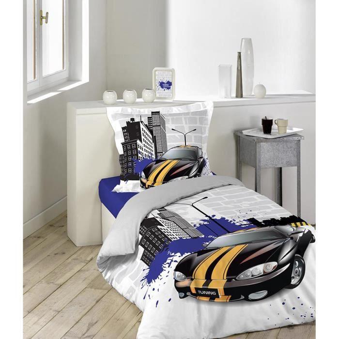 parure de couette 2 pi ces 140x200 57fils tuning achat vente parure de couette cdiscount. Black Bedroom Furniture Sets. Home Design Ideas