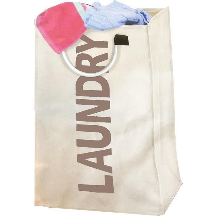 Panier linge sale pliable transportable blanc achat - Sac a linge sale tissu ...