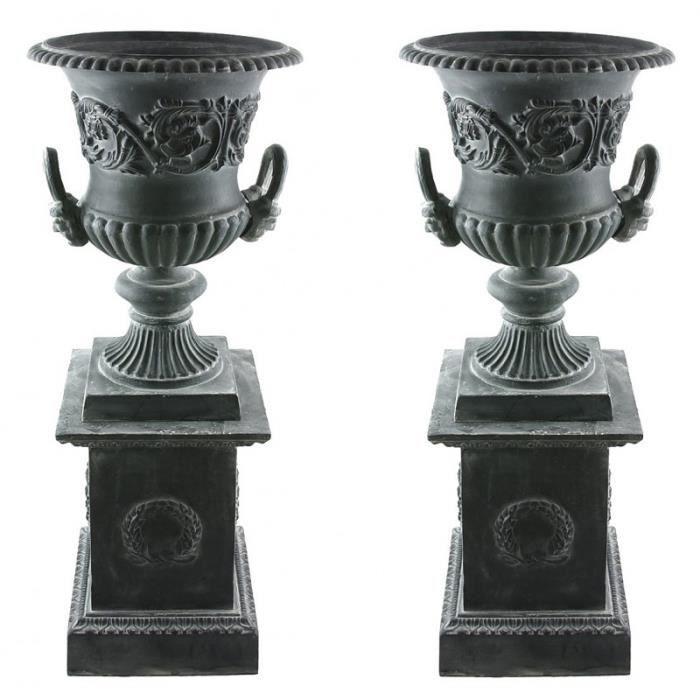 paire de vasque et socle g ant vase ext rieur de chateau en fonte gris 44x44x111cm achat. Black Bedroom Furniture Sets. Home Design Ideas