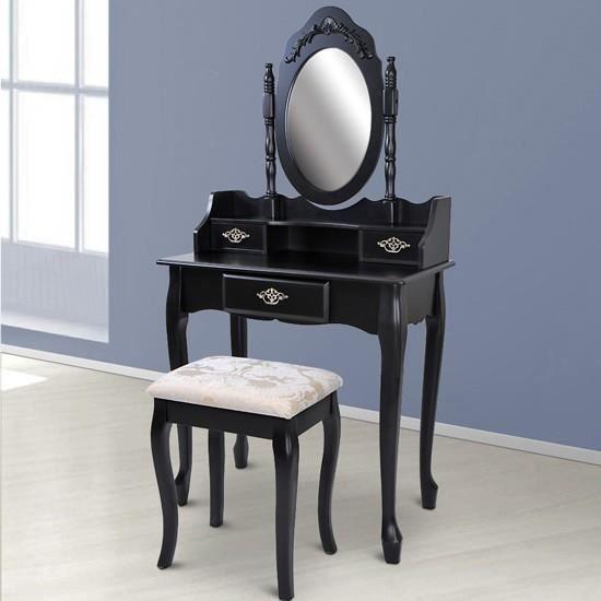 Coiffeuse avec miroir tabouret inclus smkt06 s achat - Coiffeuse avec miroir ikea ...