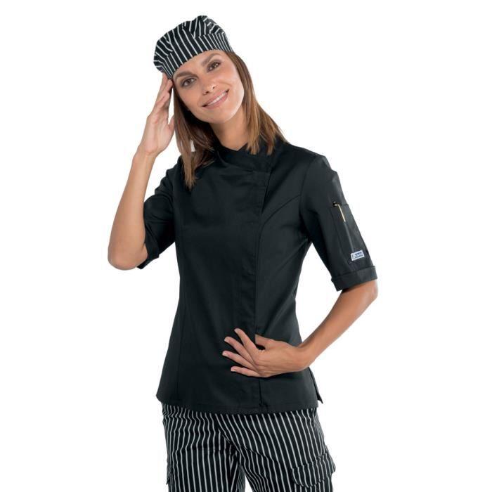 veste de cuisine noire pour femme manches courtes noir achat vente veste professionnelle. Black Bedroom Furniture Sets. Home Design Ideas