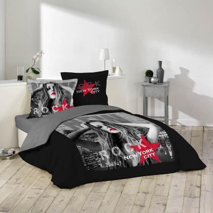 Parure de lit 3 pi ces diva 220x240cm noir rouge for Parure de lit paris