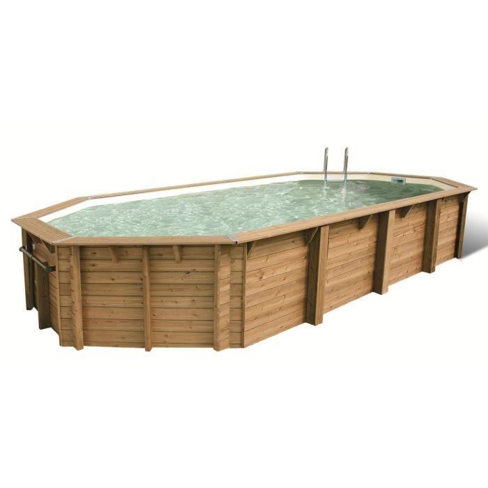 Ubbink piscine ovale en bois maldives 820x400x130cm for Piscine bois liner noir