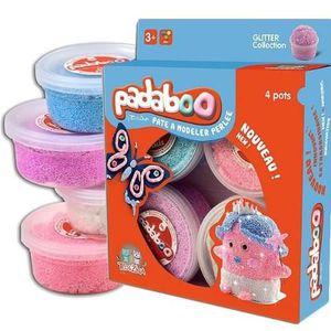 PADABOO Lot de 4x38,5g pâte ? modeler perlée glitter