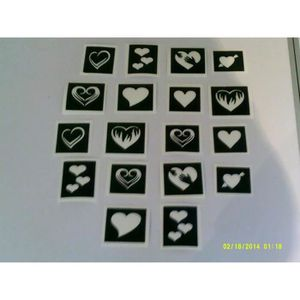 JEU DE TATOUAGE 30 x pochoirs cœur pour tatouages paillettes / aér