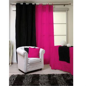 double rideaux framboise achat vente double rideaux framboise pas cher soldes cdiscount. Black Bedroom Furniture Sets. Home Design Ideas
