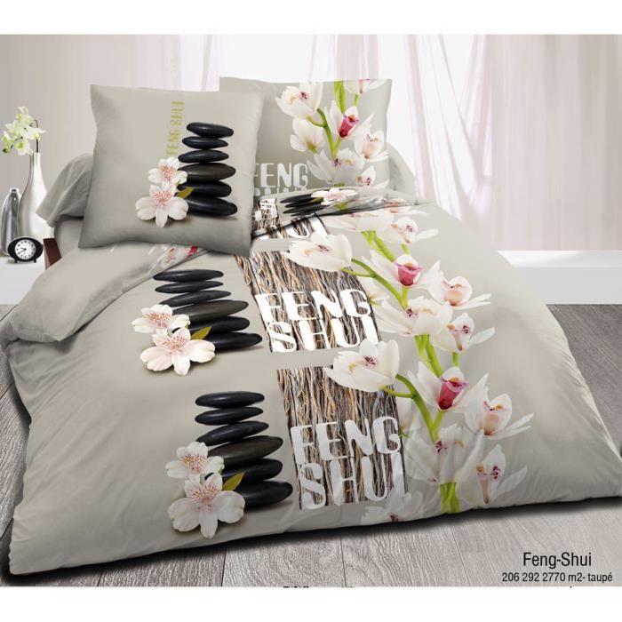 housse de couette taup feng shui 220 x 240 microfibre prix cass achat vente parure de. Black Bedroom Furniture Sets. Home Design Ideas