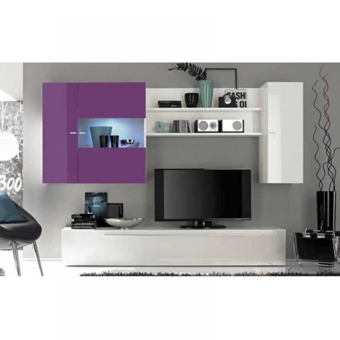 composition murale tv design primera blanc et l achat. Black Bedroom Furniture Sets. Home Design Ideas