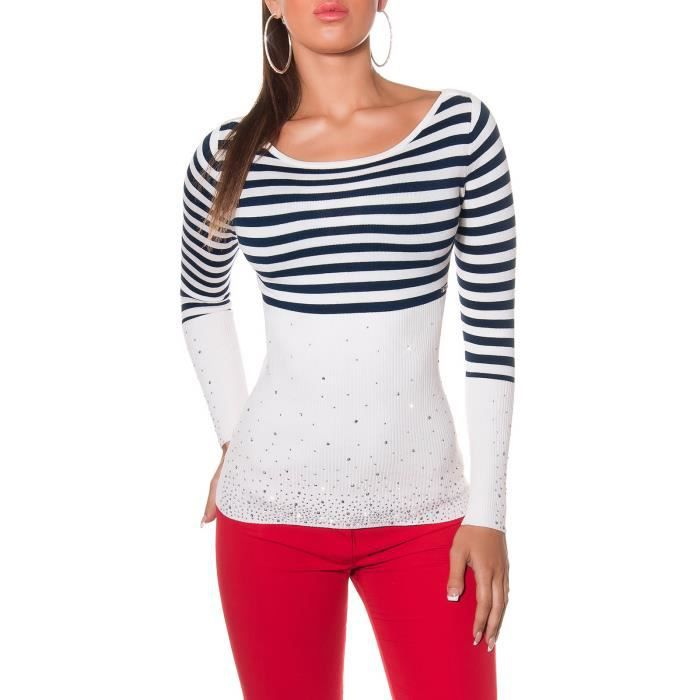 Pull court cintre blanc rayures haut sexy fashion femme achat vente pull 4055152015804 - Haut sexy femme ...